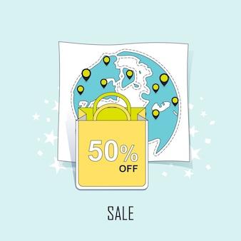Concetto di vendita: 50 percento di sconto scritto su una borsa della spesa in stile linea