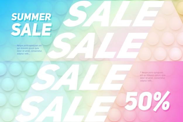 Illustrazione creativa dell'insegna di concetto di vendita con fondo astratto multicolore