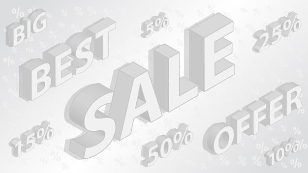 Sfondo di vendita e sconto con iscrizioni isometriche, in colori grigi