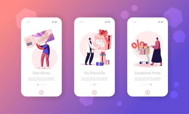 Set di schermo a bordo pagina app mobile sconto vendita.