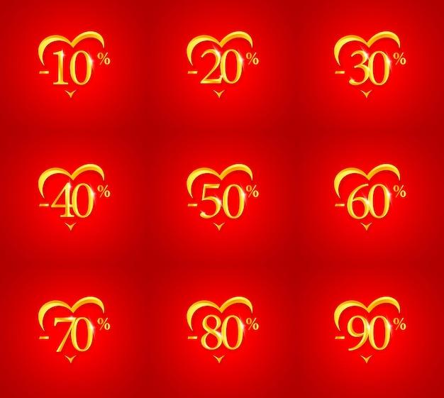 Saldi, sconti e percentuali di sconto per san valentino e il giorno del matrimonio, poster di biglietti di auguri o banner. sagoma cuore d'oro su sfondo rosso, illustrazione vettoriale.