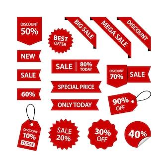 Collezione di set premium di etichette per etichette di sconto di vendita