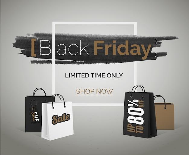Sconti di vendita della stagione tbt banner black friday brown white shopping bags con cornice