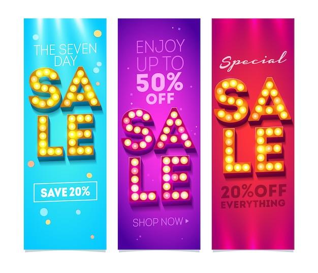 Set di volantini di vendita con modello di disegno del buono sconto