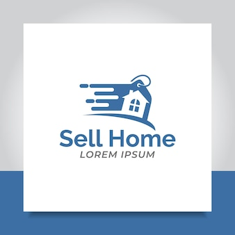 Il logo della casa di vendita progetta uno sconto di vendita flash veloce per il commercio aziendale