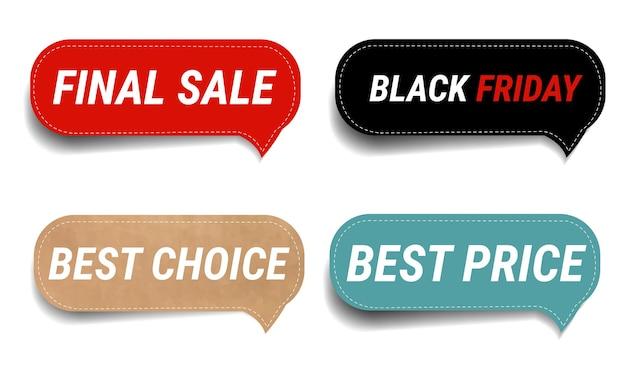 Vendita labe ls set isolato sfondo bianco con maglia gradiente, Vettore Premium