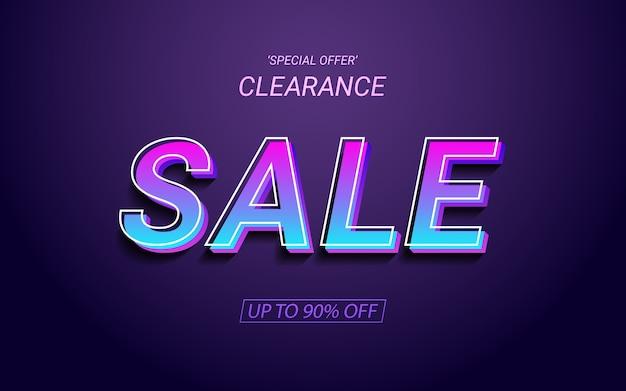 Testo 3d etichetta vendita in effetto colore luce al neon
