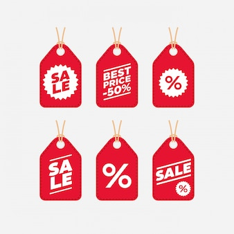 Collezione in stile piatto tag etichetta di vendita