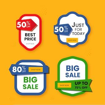 Etichetta di vendita o tag, layout appiccicoso con offerta di sconto diversa in quattro opzioni su sfondo arancione.