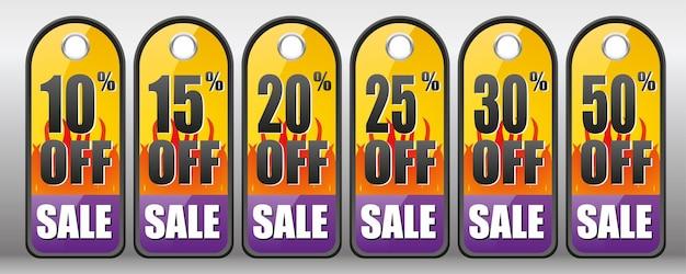 Etichette di vendita 10 15 20 25 30 50 di sconto sui saldi