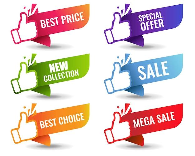 Etichette di vendita isolati su sfondo bianco Vettore Premium