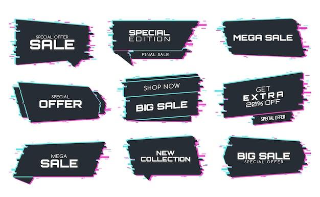 Etichette di vendita con effetto glitch