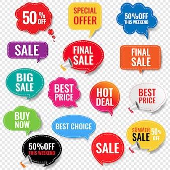 Etichette di vendita con sfondo trasparente isolato con maglia di gradiente,