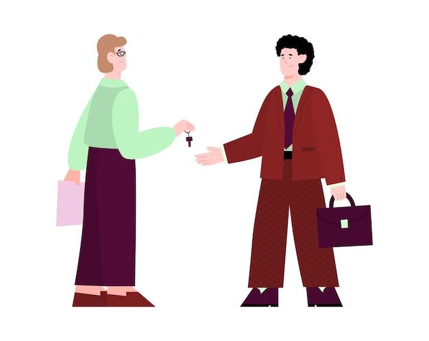 Il responsabile delle vendite consegna le chiavi all'illustrazione di vettore del fumetto dell'acquirente isolata
