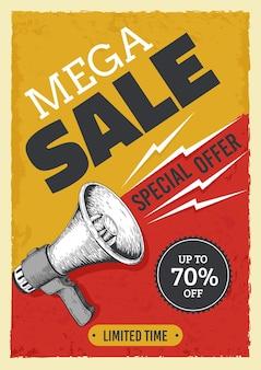Manifesto del megafono di vendita. bullhorn vintage con banner di vendita, notizie e annunci grunge flyer concept. illustrazione vettoriale avviso e attenzione concetto annunci di sconto sul prezzo di mercato tabellone per le affissioni