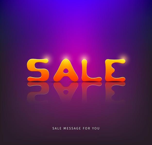 Progettazione del messaggio di vendita su sfondo viola eps10 illustrazione vettoriale