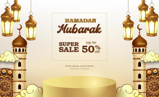 Modello di banner di offerta di vendita per ramadan mubarak con display del prodotto sul podio 3d con lanterna e moschea fantastiche