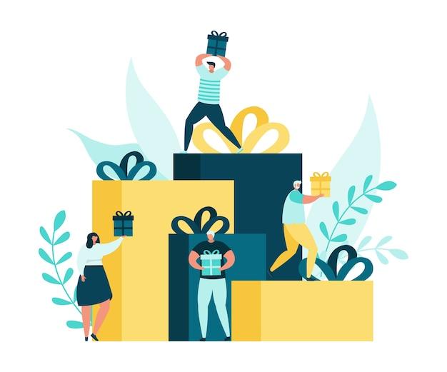 Vendita e persone con scatole regalo piatte