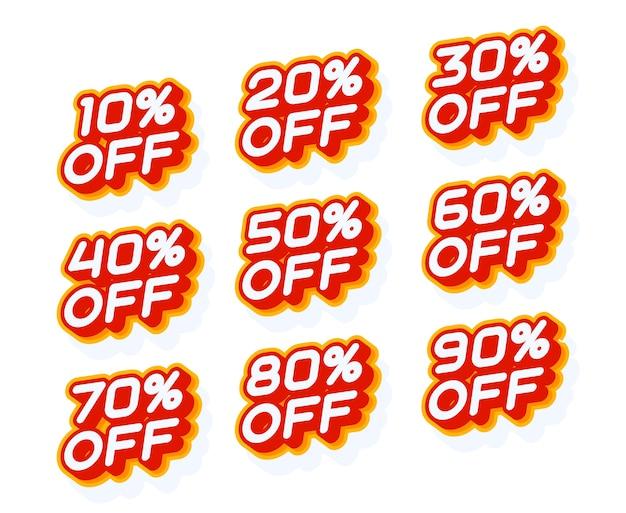 Percentuale di vendita impostata su 10 20 30 di sconto e altro modello di etichetta rossa e gialla