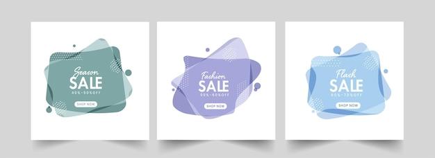 Poster di vendita o modello di progettazione con le migliori offerte di sconto in tre opzioni.