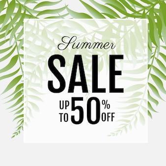 Manifesto di vendita con foglie di palma verdi