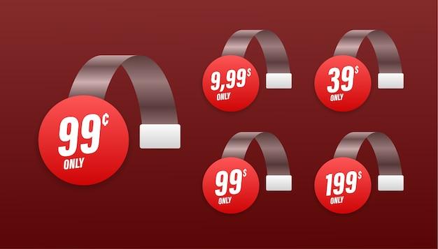 Vendita, cartellino del prezzo. distintivo di banner di vendita. segno di prezzo di offerta speciale. illustrazione di riserva.