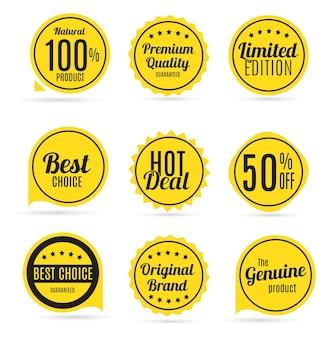 Vendita e set di etichette di qualità del prodotto in colori retrò vector illus