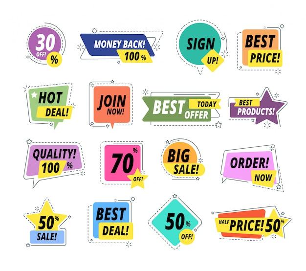 Distintivi promozionali di vendita. etichette di garanzia. etichetta promozionale premium esclusiva con il miglior prezzo. insieme di vettore di grande vendita di offerta del venditore