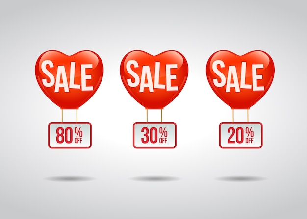 Etichetta promozionale di vendita con palloncini a cuore