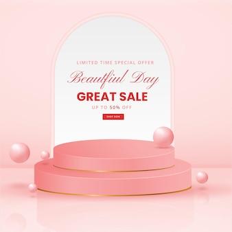 Banner di promozione della vendita con focolare realistico o forma d'amore e podio della fase del prodotto 3d