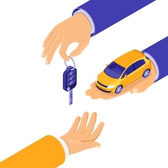 Vendita, acquisto, noleggio auto concetto isometrico per l'atterraggio, pubblicità con le mani tenere auto e chiave. noleggio auto, carpool, car sharing per viaggi in città. isolato