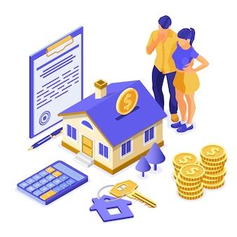 Vendita, acquisto, affitto, concetto isometrico di casa ipotecaria per l'atterraggio, pubblicità con casa, chiave, famiglia pensa che investe denaro nel settore immobiliare. isolato