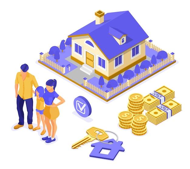Vendita, acquisto, affitto, concetto isometrico di casa ipotecaria per l'atterraggio, pubblicità con casa, chiave, famiglia con bambino investe denaro nel settore immobiliare. isolato