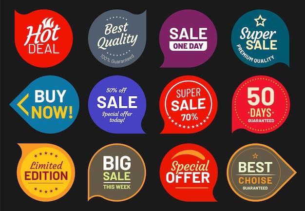 Distintivi di qualità di vendita. adesivo timbro di qualità, badge premium, illustrazione del prezzo dell'emblema del prodotto, sconto e garanzia
