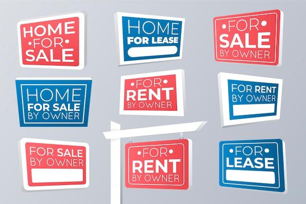 Insieme di segni di vendita immobiliare