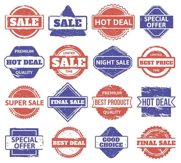Timbro di gomma di vendita. distintivi di sconto per lo shopping vintage, vendita di texture grunge, francobolli di prodotti di qualità