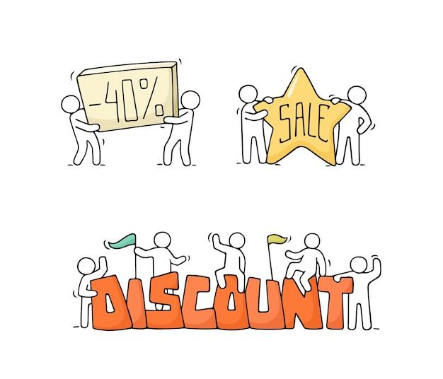 Set di vendita con piccole persone che lavorano. doodle scene in miniatura carino di lavoratori con striscioni di sconto. illustrazione del fumetto disegnato a mano