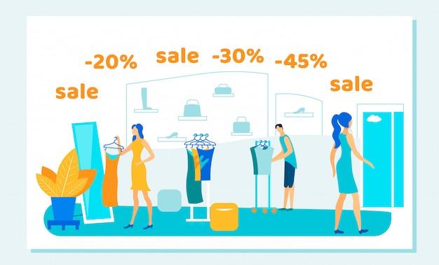 Saldi, shopping persone acquisto in negozio