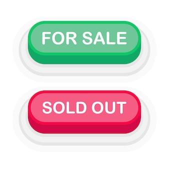 In vendita o esaurito pulsante 3d verde o rosso in stile piano isolato su priorità bassa bianca. illustrazione vettoriale.