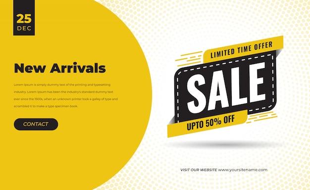 Vendita offerta sconto speciale banner nuovo arrivo per social media con cartellino del prezzo design premium