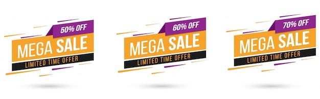 Vendita offerta speciale e cartellini dei prezzi design premium vector Vettore Premium