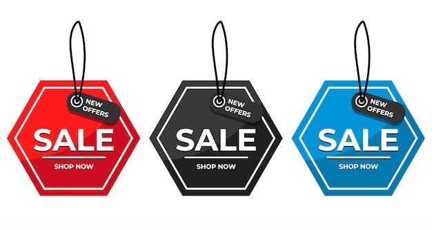 Offerta speciale di vendita e cartellini dei prezzi impostati