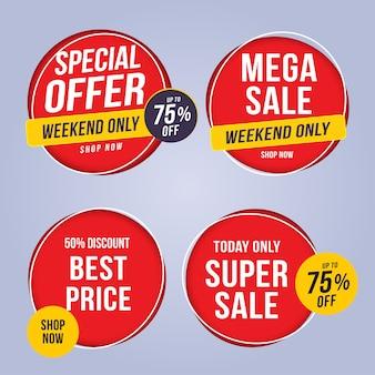 Vendita e tag di offerta speciale, cartellini dei prezzi, etichetta di vendita, banner