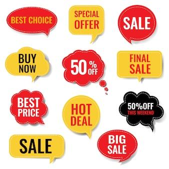 Bolla di discorso di vendita set isolato sfondo bianco