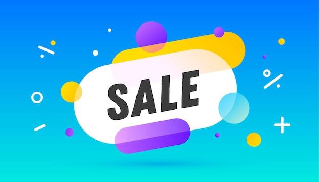 Bolla di discorso di vendita con illustrazione