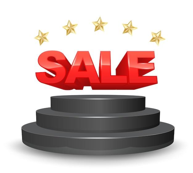 Stage di vendita con 5 stelle d'oro in stile 3d Vettore Premium