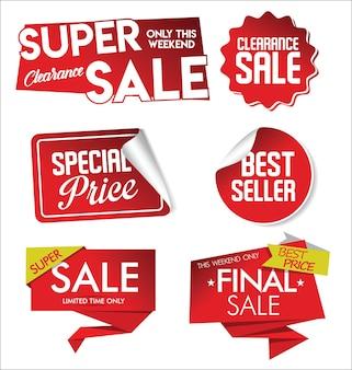 Set di adesivi di vendita grande collezione di tag sconto rosso