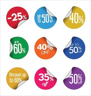 Collezione colorata di adesivi di vendita