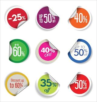 Collezione colorata di adesivi e tag di vendita