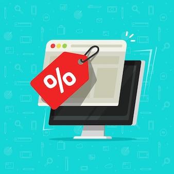 Vendita tag o badge sullo schermo del computer come promozione